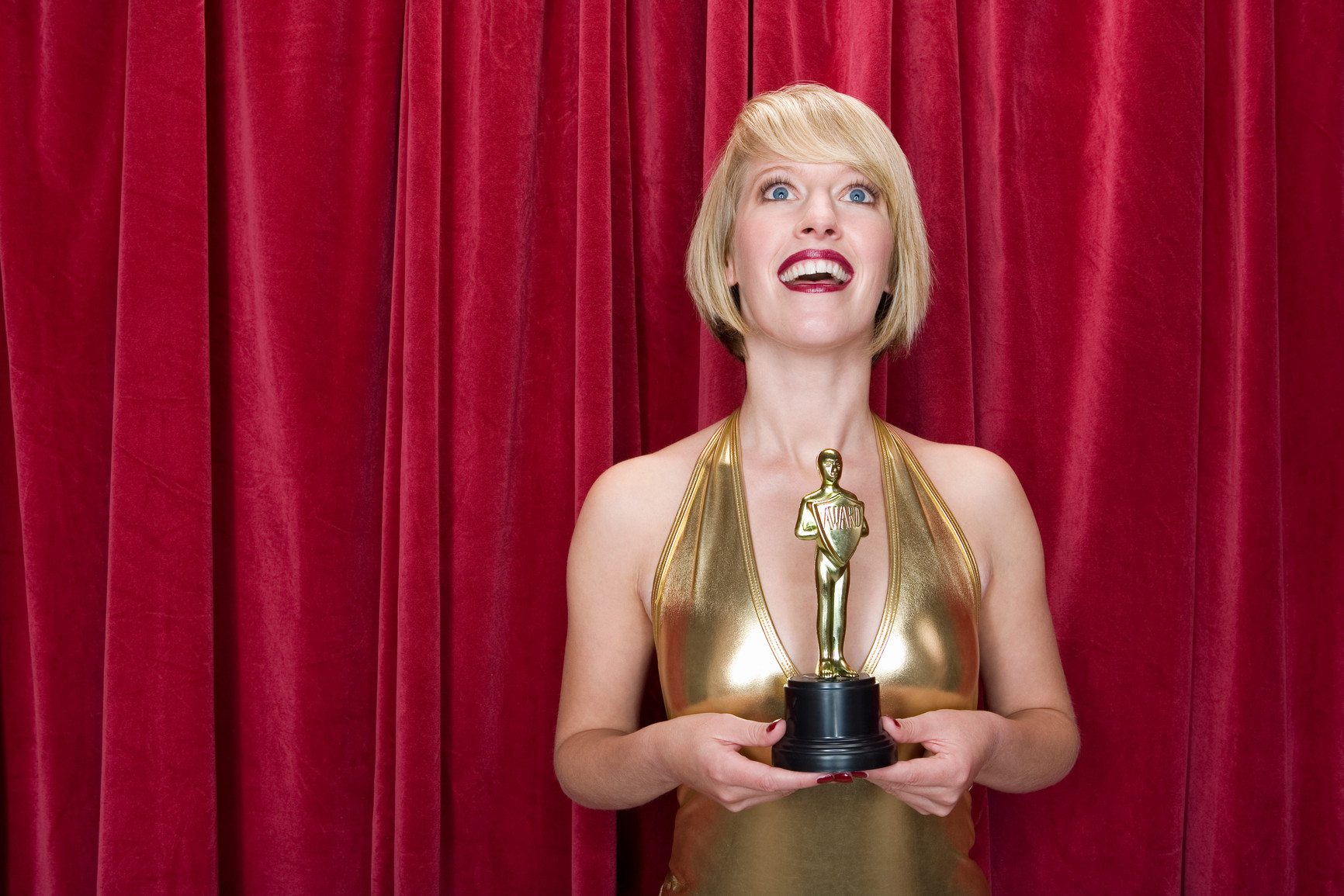 Actress holding an award