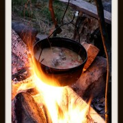 cooking on the campfire in the woods