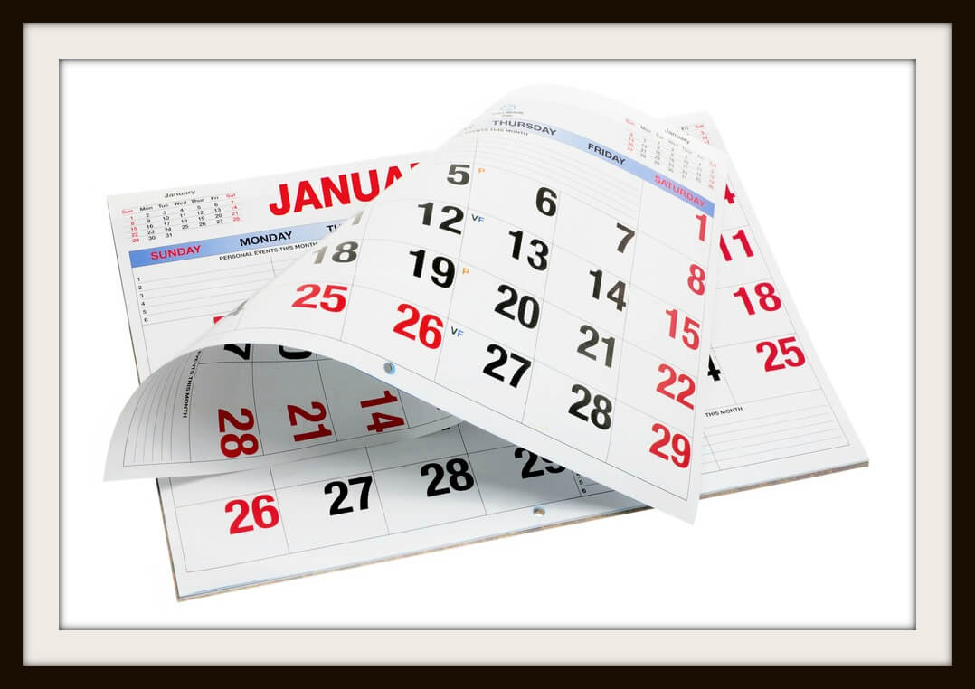 Calendar on Isolated White Background