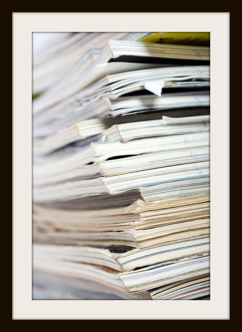 Stack of paper on neutral background close up