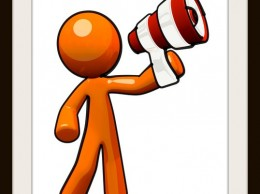 Broadcasting and communications image. Orange man with megaphone.
