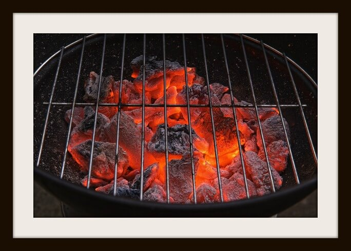 Red hot burning charcoal preparing for grilling