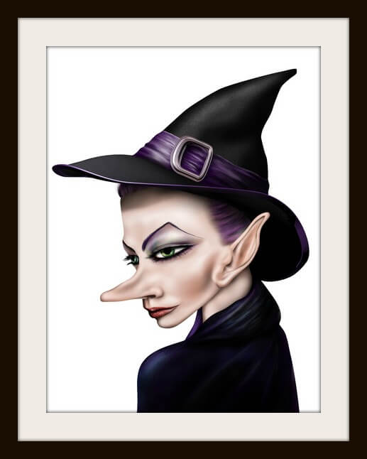 Stylized illustration of a witch in a pointy hat