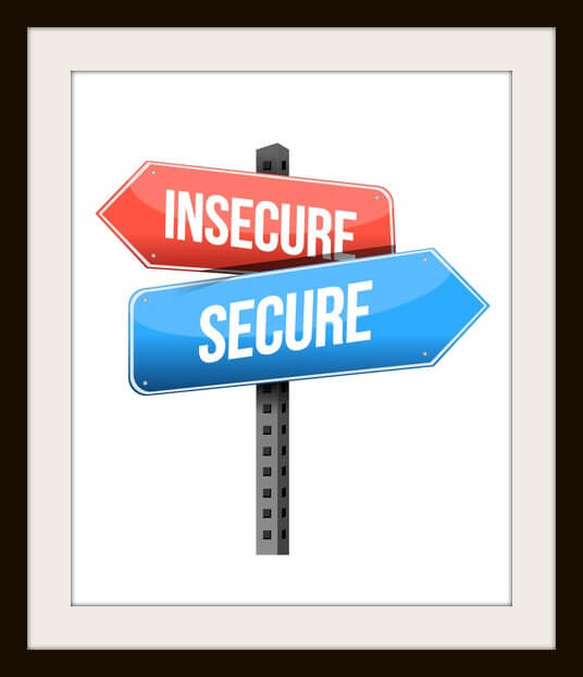 insecure, secure road sign illustration design over a white background