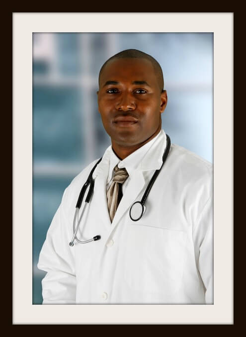 Minority black doctor working at the hospital