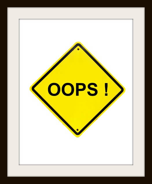 oops error Yellow Sign on white background