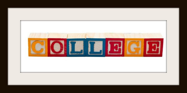 Wooden blocks that spells the word College.  Isolated on white background.
