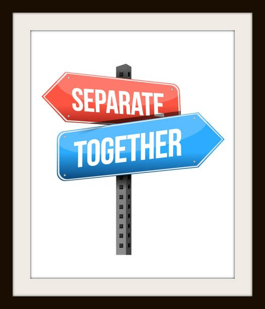 separate, together road sign illustration design over a white background