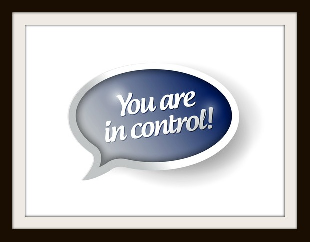 You are in control blue message bubble illustration design