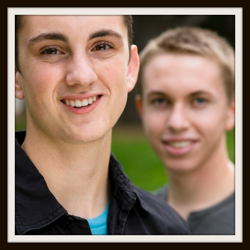 Portrait of Two Teen Boys in a Park