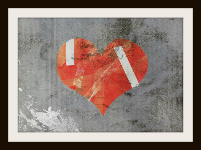 damaged heart on old paper