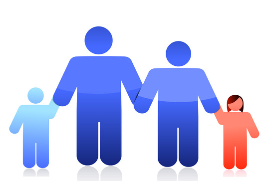 male couple and family
