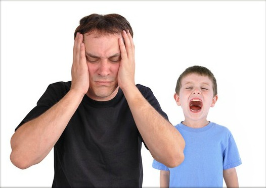 Stress Dad and Screaming Upset Boy