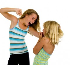 two sister girls having a fight