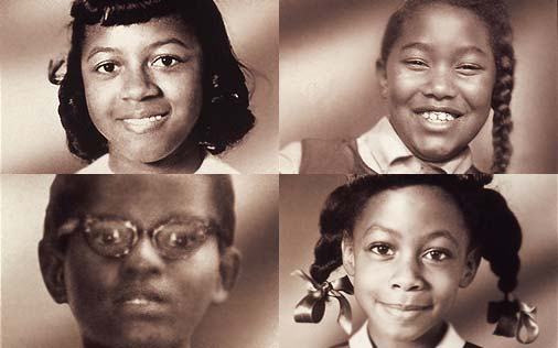 Clockwise from top left: Cynthia Wesley, Carole Robertson, Denise McNair, Addie Mae Collins.