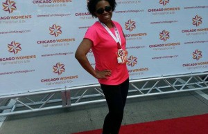Alexis Walker right after finishing the Chicago Women's Half Marathon in 2013.