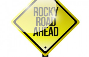 rocky road ahead sign