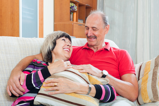 happy ordinary mature couple together