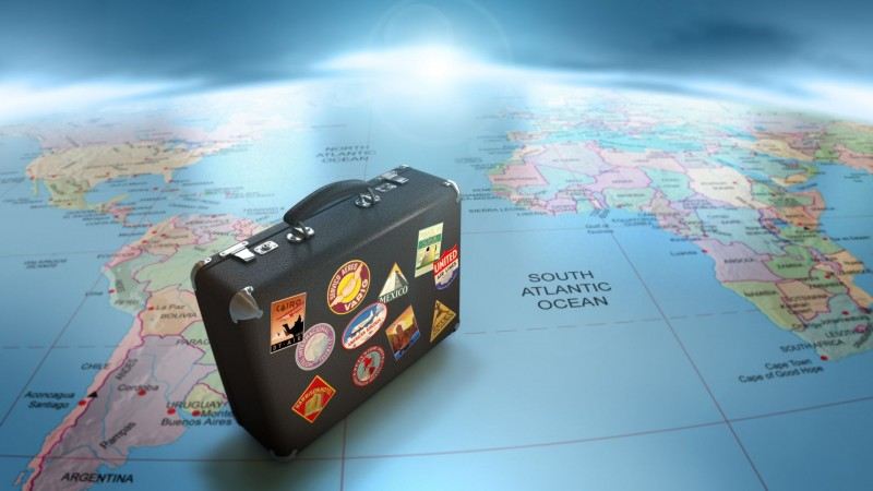 Suitcase and Map