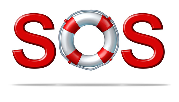 Help SOS symbol with a life preserver as the letter o representing emergency services and rescue assistance insurance for protection and safety from dangers on a white background.