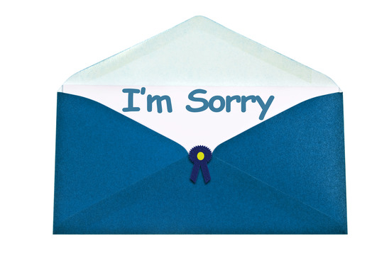 I'm sorry letter in blue envelope