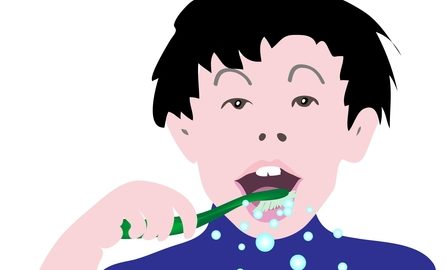 Cartoon of A Young Boy Cleaning His Teeth with Toothbrush in The Morning and Before Sleeping